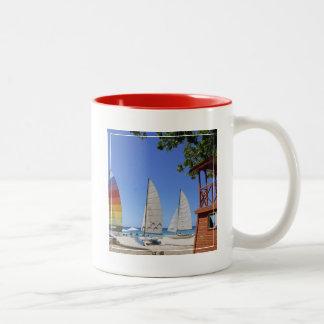 Catamarans And Lifeguard Stand On Beach Two-Tone Coffee Mug