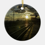 Catania railways at sunset Double-Sided ceramic round christmas ornament