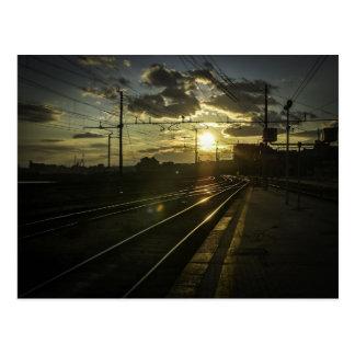 Catania railways at sunset postcard