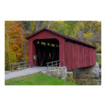 Cataract Covered Bridge over Mill Creek Poster