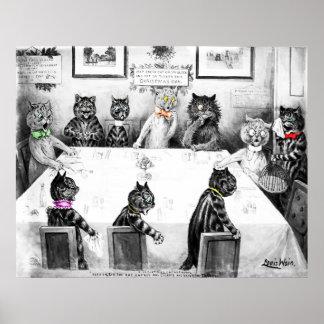 Catástrofe del navidad de los gatos de Louis Wain Póster