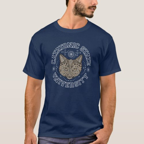 Catatonic State University Kitty Cat Dark T_shirt
