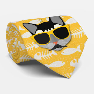Catatude Funny Cat with Mustache and Sunglasses Tie