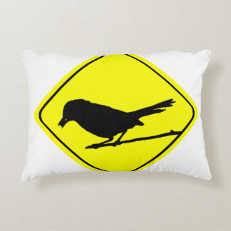 Catbird Bird Silhouette Caution or Crossing Sign Accent Pillow