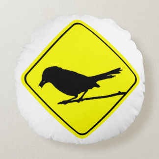 Catbird Bird Silhouette Caution or Crossing Sign Round Pillow