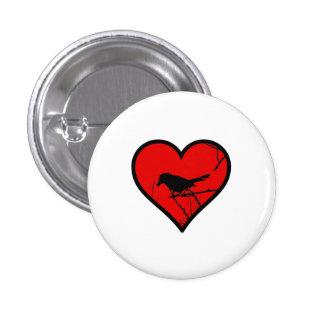 Catbird Heart Love Birds Silhouette Pinback Button