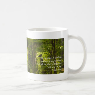 Catbird in the Forest Green Coffee Mug