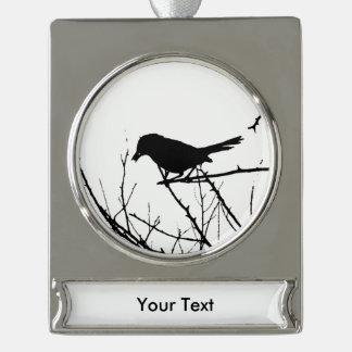 Catbird Silhouette Love Bird Watching Silver Plated Banner Ornament