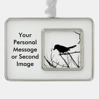 Catbird Silhouette Love Bird Watching Silver Plated Framed Ornament