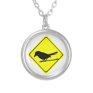 Catbird Warning Sign Love Bird Watching Silver Plated Necklace