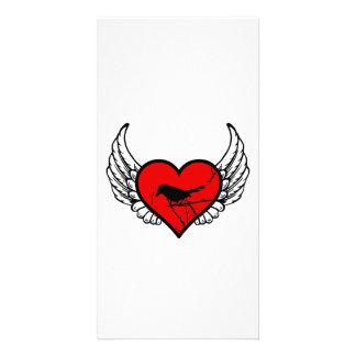 Catbird Winged Heart Love Birds Silhouette Card