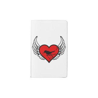 Catbirds del ángel, corazón con alas silueta de