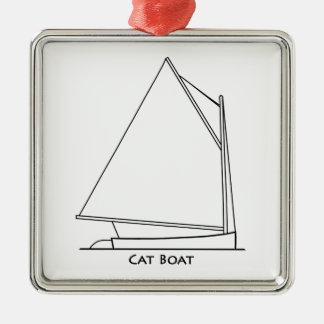 Catboat Sailing Logo (sail plan titled) Metal Ornament