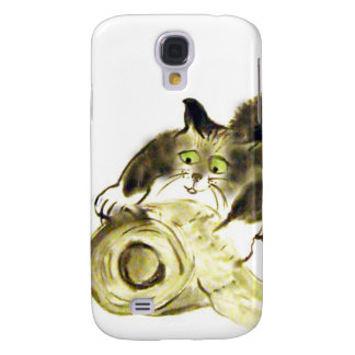 Catbotage - kitten and toilet paper, Sumi-e Samsung Galaxy S4 Case
