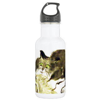 Catbotage - kitten and toilet paper, Sumi-e Stainless Steel Water Bottle