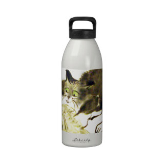 Catbotage - kitten and toilet paper, Sumi-e Water Bottle