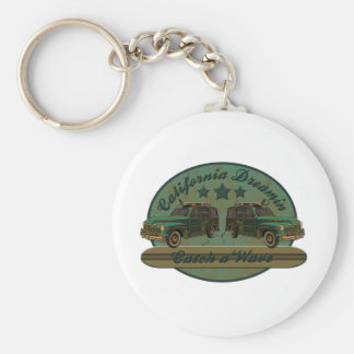 Catch a California Dreamin Surf Wave Basic Round Button Keychain