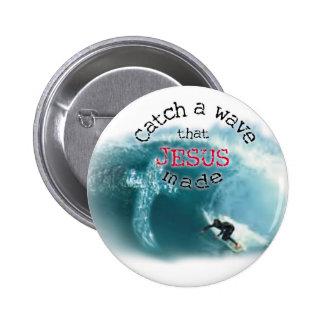 Catch a Wave 2 Inch Round Button