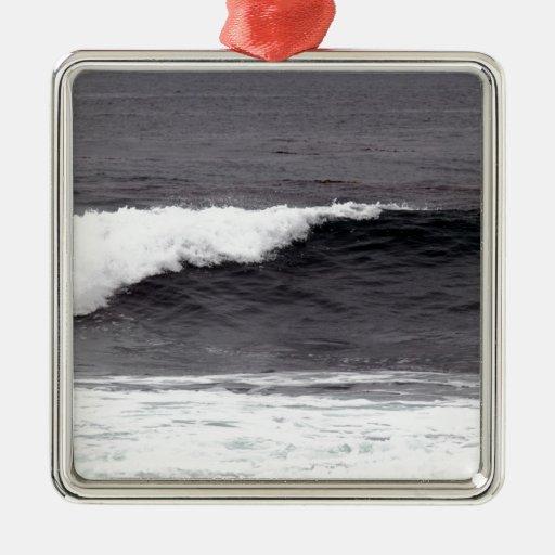 Catch a wave square metal christmas ornament