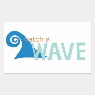 Catch a wave surfer rectangular sticker