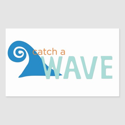 Catch a wave surfer rectangle stickers