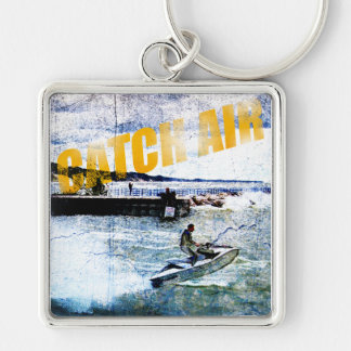 Catch Air Silver-Colored Square Keychain