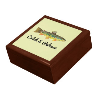 Catch and Release Brown Trout Fisherman's Jewelry Box