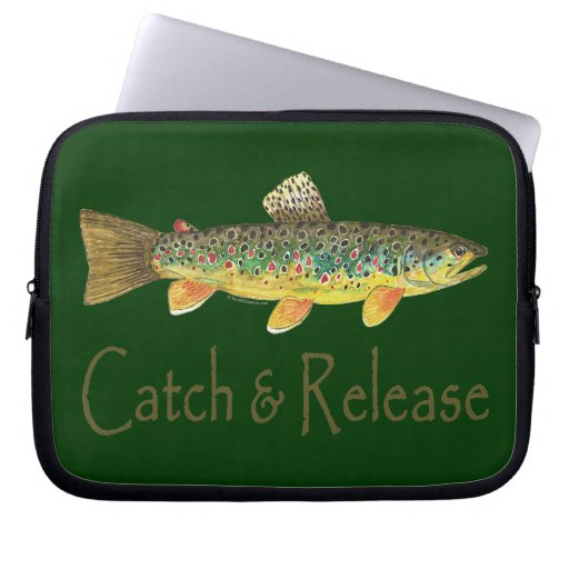 Catch and Release Fishing Laptop Computer Sleeve