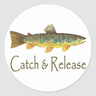 Catch and Release Fishing Round Sticker