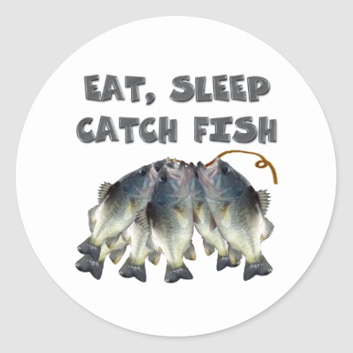 catch fish classic round sticker