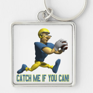 Catch Me If You Can Silver-Colored Square Keychain