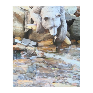 """""""Catch of the Day"""" Bear by SnapDaddy Metal Print"""