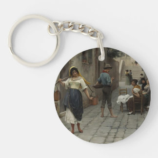 Catch of the Day by Eugene de Blaas Single-Sided Round Acrylic Keychain