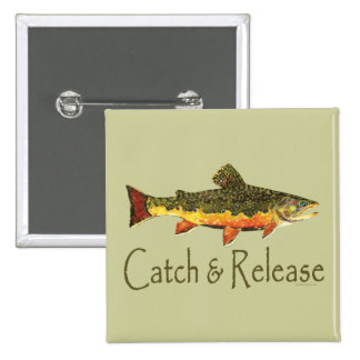 Catch & Release Trout Fishing 2 Inch Square Button