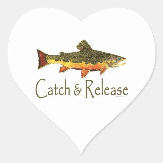 Catch & Release Trout Fishing Heart Sticker