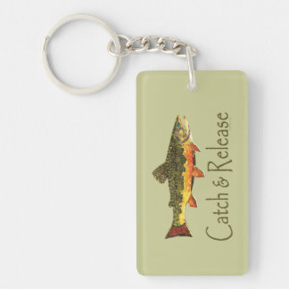 Catch & Release Trout Fishing Single-Sided Rectangular Acrylic Keychain