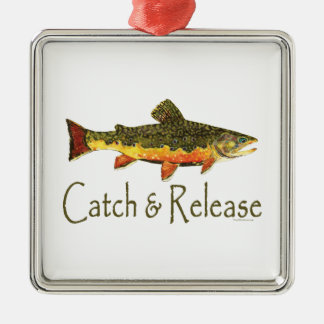 Catch & Release Trout Fishing Metal Ornament