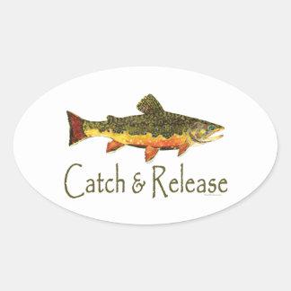 Catch & Release Trout Fishing Oval Sticker