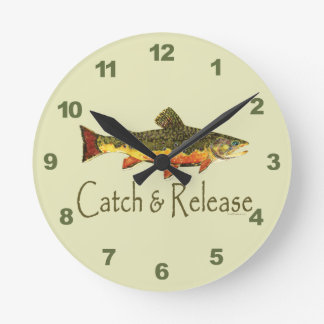 Catch & Release Trout Fishing Round Clock
