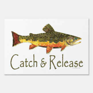 Catch & Release Trout Fishing Lawn Sign