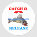 Catch & Release Walleye fishing Classic Round Sticker