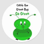 Catch the Green Bug Round Stickers