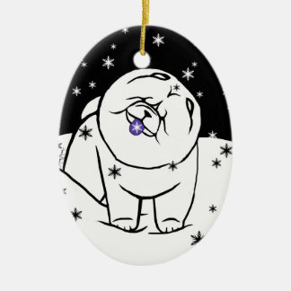 CATCH THE SPIRIT OF THE SEASON Limited to 150 Double-Sided Oval Ceramic Christmas Ornament