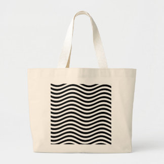CATCH THE WAVE - BLACK ~ ~ LARGE TOTE BAG