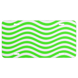 CATCH THE WAVE - NEON GREEN ~~ LICENSE PLATE