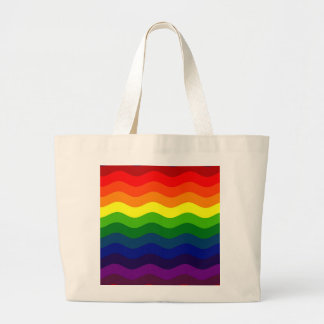 CATCH THE WAVE - RAINBOW (stripes) ~ Large Tote Bag