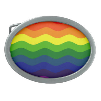 CATCH THE WAVE - RAINBOW (stripes) ~ Oval Belt Buckle