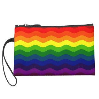 CATCH THE WAVE - RAINBOW (stripes) ~ Suede Wristlet Wallet