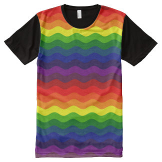 CATCH THE WAVE - RAINBOW STRIPES ~v.2~ All-Over Print T-shirt