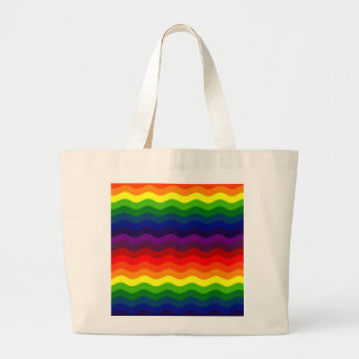 CATCH THE WAVE - RAINBOW STRIPES ~v.2~ Large Tote Bag